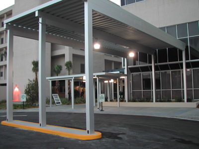 long aluminum canopy for drop off outside of building & Aluminum Carports | Drop-Off Canopies | Parking Garage ...