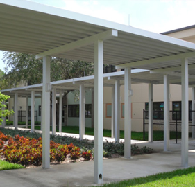 aluminum canopy system at school