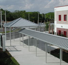 Pitched Aluminum Walkway With Pavilion At The End