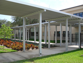 aluminum walkway cover at a school