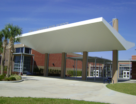 large aluminum canopy at school