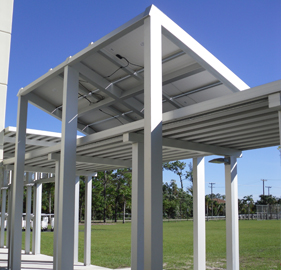 solar panels attached to a aluminum walkway system